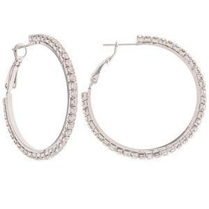 Jewelry - 🆕 Silver Pave Rhinestone Hoop Earrings